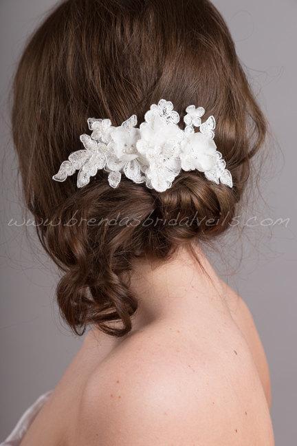 Mariage - Bridal Lace Hair Comb, Wedding Headpiece, Ivory Lace Bridal Hair Piece - Trina