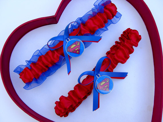 Mariage - New Handmade Superman Wedding Garter Red Yellow Royal Blue Prom Garters Homecoming Dance Superhero Wedding Garter Set