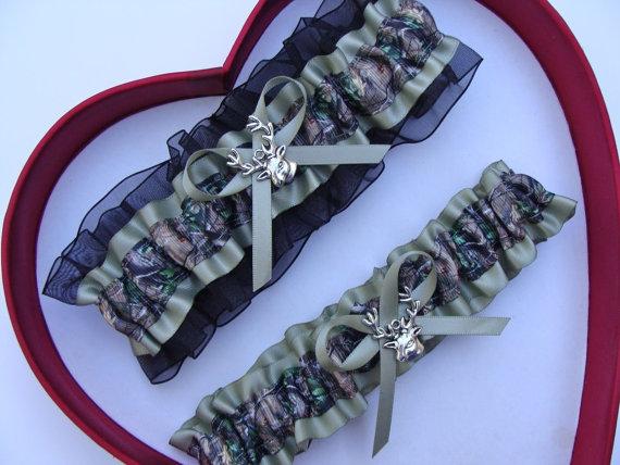 Wedding - New Mossy Oak Sage Black Camouflage Camo Wedding Garter Hunting Deer Hunter Chick Prom GetTheGoodStuff Gun