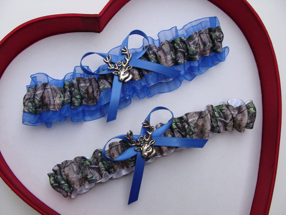 زفاف - Wedding Garters Mossy Oak Royal Blue Camouflage Camo Set Keepsake Toss Plus Size Wedding Garters Prom