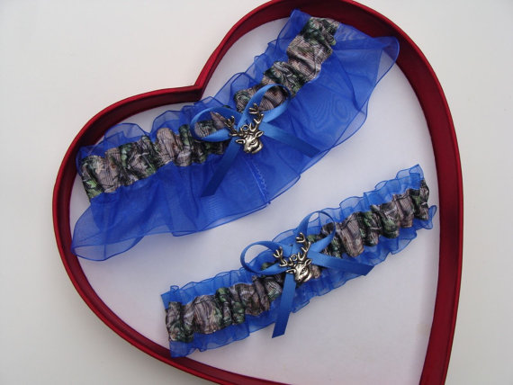 Wedding - Wedding Garters Mossy Oak Royal Blue Camouflage Camo Set Keepsake Toss Plus Size Wedding Garters Hunting Prom Deer