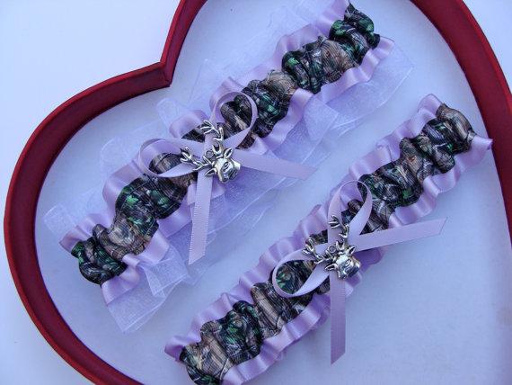 Mariage - New Lavender White Mossy Oak Camouflage Camo Wedding Garter Prom GetTheGoodStuff