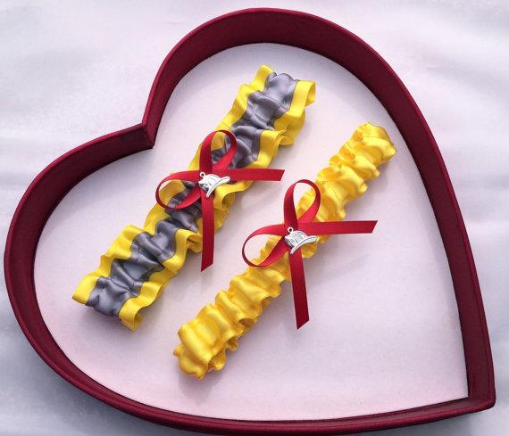 Hochzeit - Wedding Garter, Silver Yellow Red Wedding Garter Set, Fireman, Firefighter Select Keepsake Garter Toss Garter Plus Size Garter