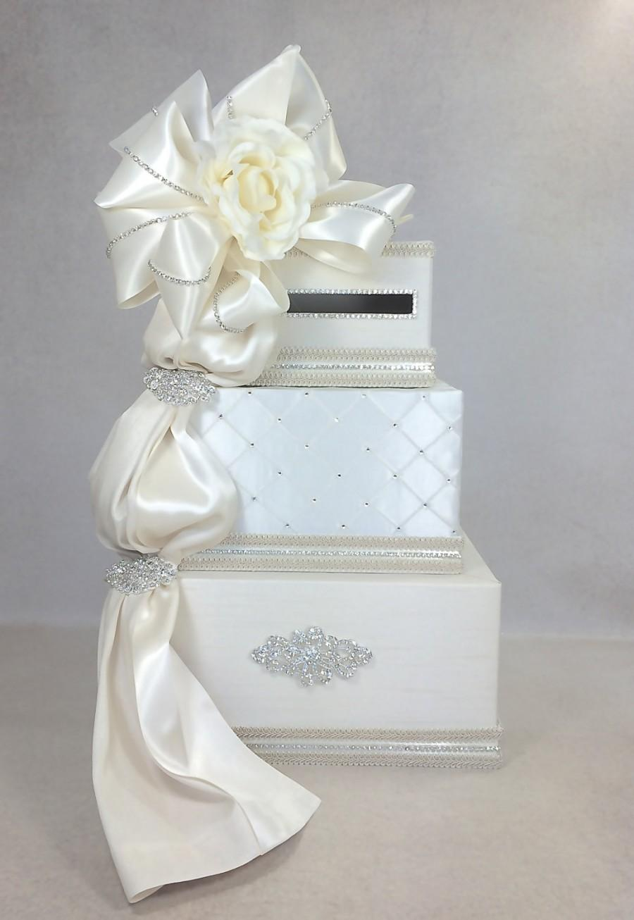 Wedding - Flower Diamond Bow Wedding Card Box Ribboned Wedding Card with slot Card Box Gift Card Box Secured Lock Wedding Card Box, Ivory, Handmade
