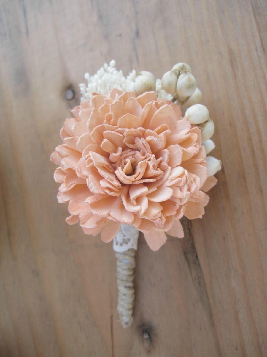 Свадьба - Any Color Boutonniere Custom Made with Sola Flowers and Berries