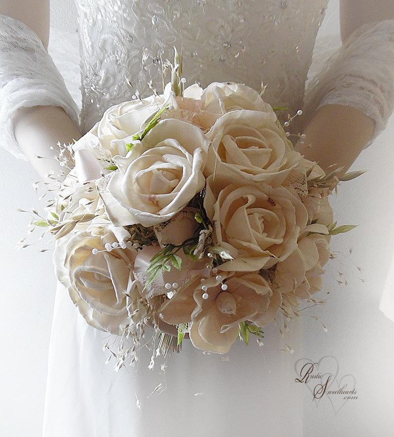 Свадьба - Ready to Ship ~ FREE Priority Mail Shipping! ~~~ Elegant Medium Size Ivory Sola Flower Bridal Bouquet with blush satin ribbon & lace.