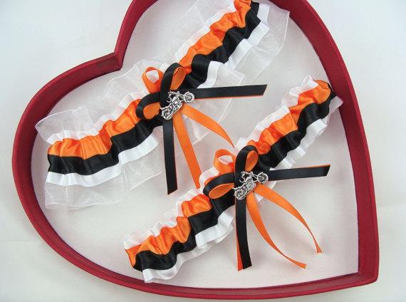 Mariage - Wedding Garter Orange Black White Harley Wedding Garter Harley Motorcycles