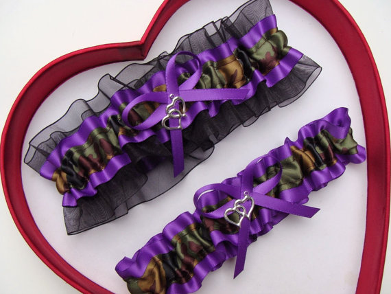 Hochzeit - Wedding Garters Camouflage Army Purple Black Camo Set Keepsake Toss Plus Size Wedding Garters Hunting Prom Gun Military