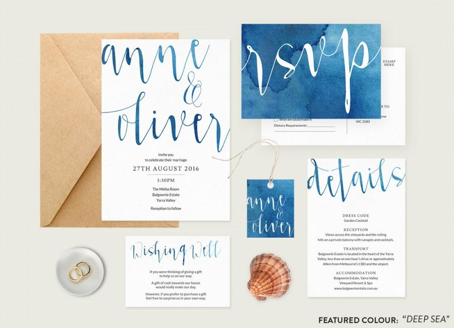 Watercolour Wedding Invitation Set Printable Wedding Stationery