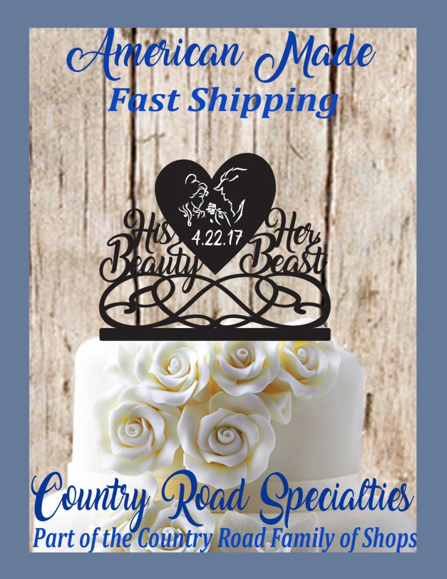 Свадьба - Beauty and the Beast His Beauty Her Beast With Date Engraved Solid Heart Wedding Cake Topper  Made in USA