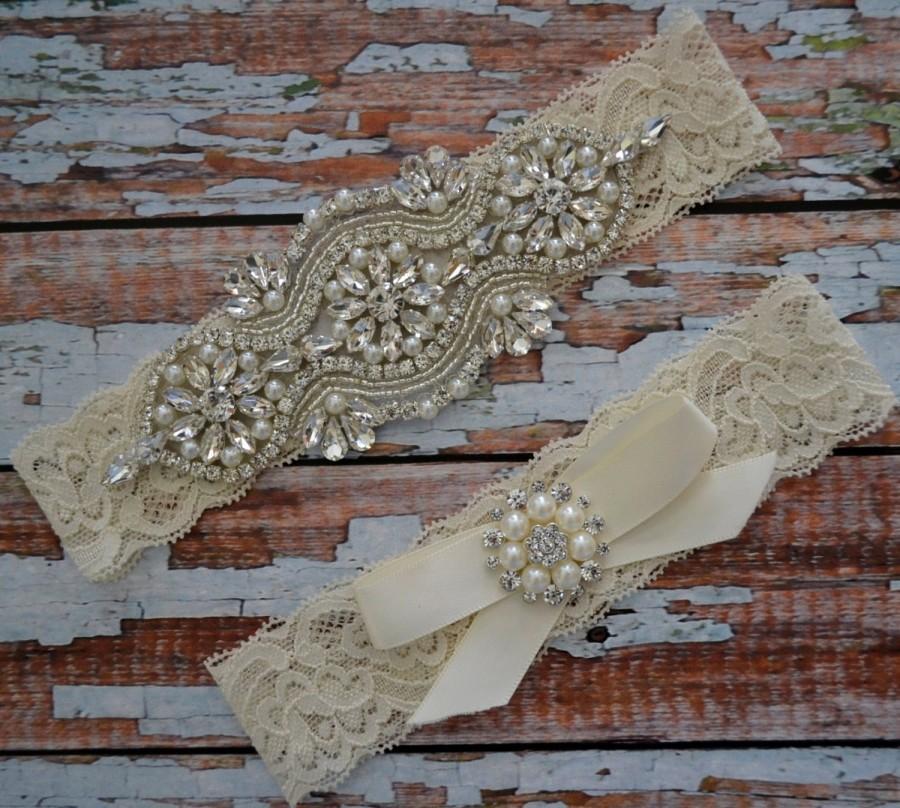 Wedding - Rhinestone and Pearl Wedding Garter Set, Wedding Garter, Elegant Bridal Garter Belt, Ivory Or White Bow With Rhinestone Toss, 1R3