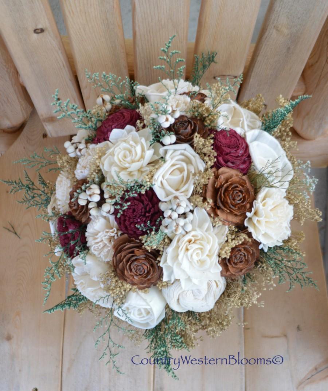 Свадьба - Woodland Bouquet Winter Bouquet Maroon Bouquet Burgundy Bouquet Rustic Bouquet Wedding Bouquet Sola Bouquet  Gold Maroon Bouquet Burgundy