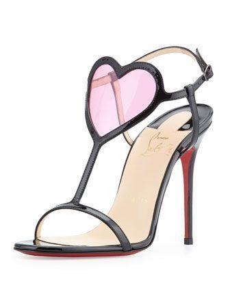 زفاف - Christian Louboutin Cora Heart Red Sole Sandal, Black/Pink