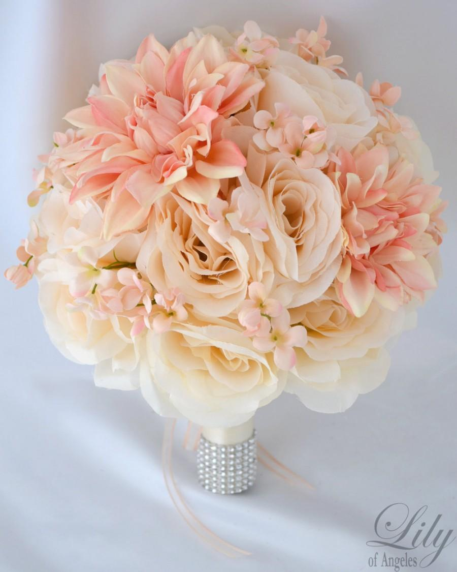 Blush wedding 4 weddbook wedding bridal bouquets 17 piece package silk flower arrangements artificial flowers blush peach ivory lily of angeles ivpi02 izmirmasajfo