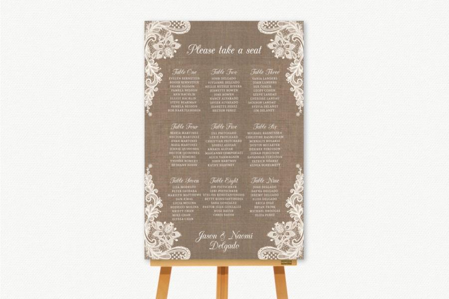 Свадьба - Wedding Seating Chart Seating Plan Sign. Rustic Burlap and Lace Theme. Barn Wedding Farm Wedding.