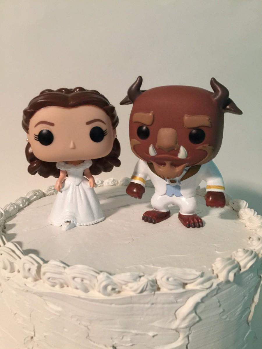 Düğün - Custom Funko Pop Beauty and the Beast Wedding Cake Topper Set