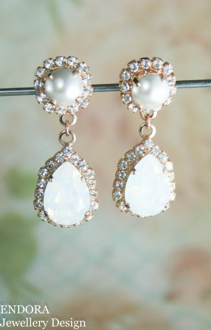 Swarovski Earrings,white Opal Earrings,bridal Earrings,rose Gold Earrings,rose  Gold Bridal Earrings,white Bridal Earrings,crystal And Pearl