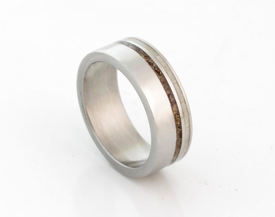 Mariage - DINOSAUR BONE Ring with antler ring titanium wedding band mens wedding band woman ring man jewelry fossil ring