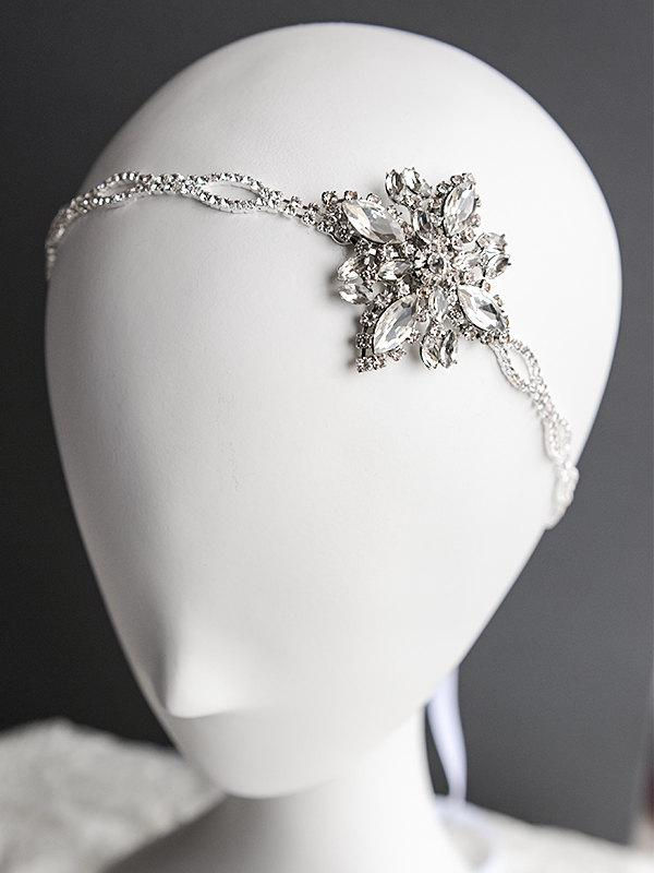 زفاف - Bridal Headband, Crystal Wedding Hair Accessories, Victorian Style Oval Rhinestone Silk Ribbon Hairband, Art Deco Wedding Headpiece, ARELY