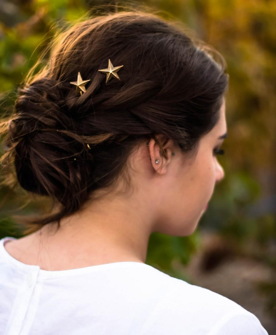 Mariage - Gold Star Hair Pins Star Bobby Pins Gold Star Hair Clips Star Hair Grips ,4th of July, Fourth of July, Stars Stripes , Hair Accessory Formal