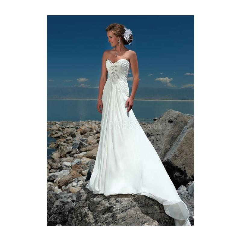 Wedding - Spectacular Long Scoop Empire Sheath/ Column Chapel Train Wedding Gown - Compelling Wedding Dresses