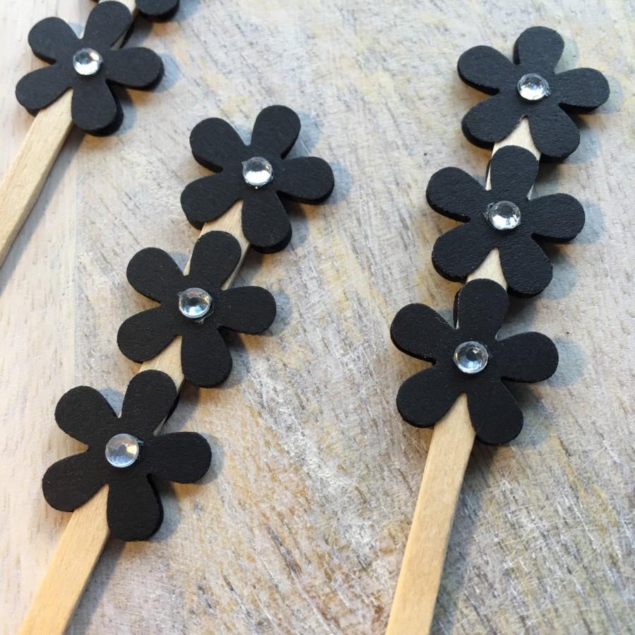 Hochzeit - Black Flower Cake Picks