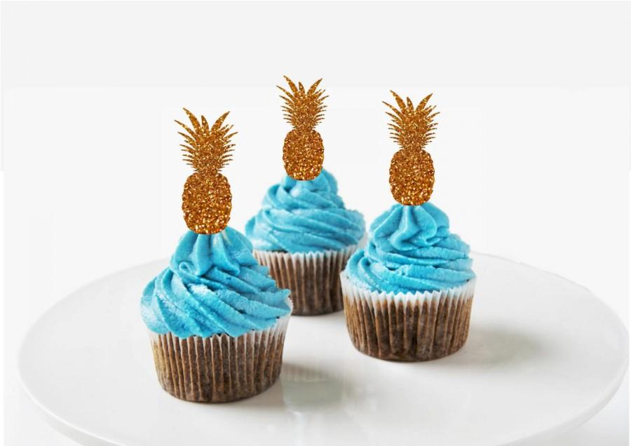 Wedding Cupcake Toppers Pineapple Tropical Party Beach Summer Birthday