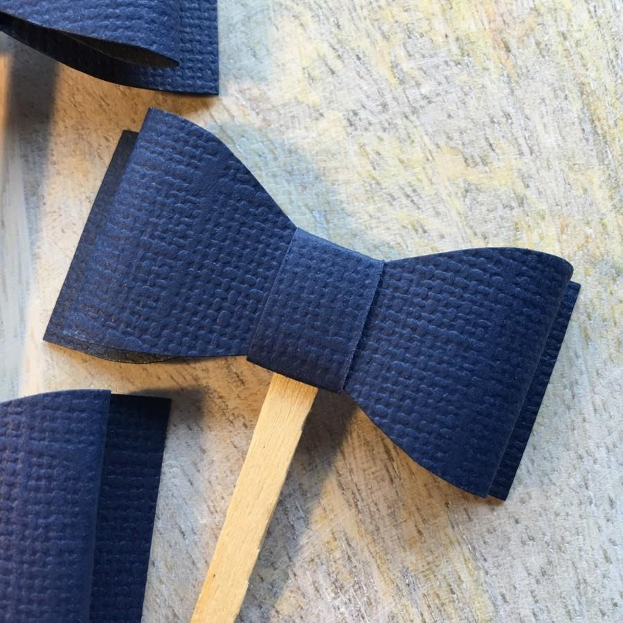 Mariage - Navy Blue Bow Cupcake Toppers