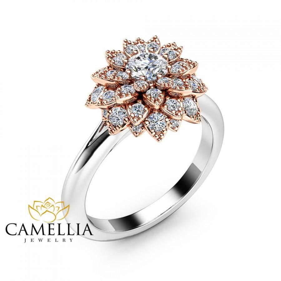 Mariage - Diamond Flower Engagement Ring 14K Two Tone Gold Flower Ring Unique Diamond Engagement Ring