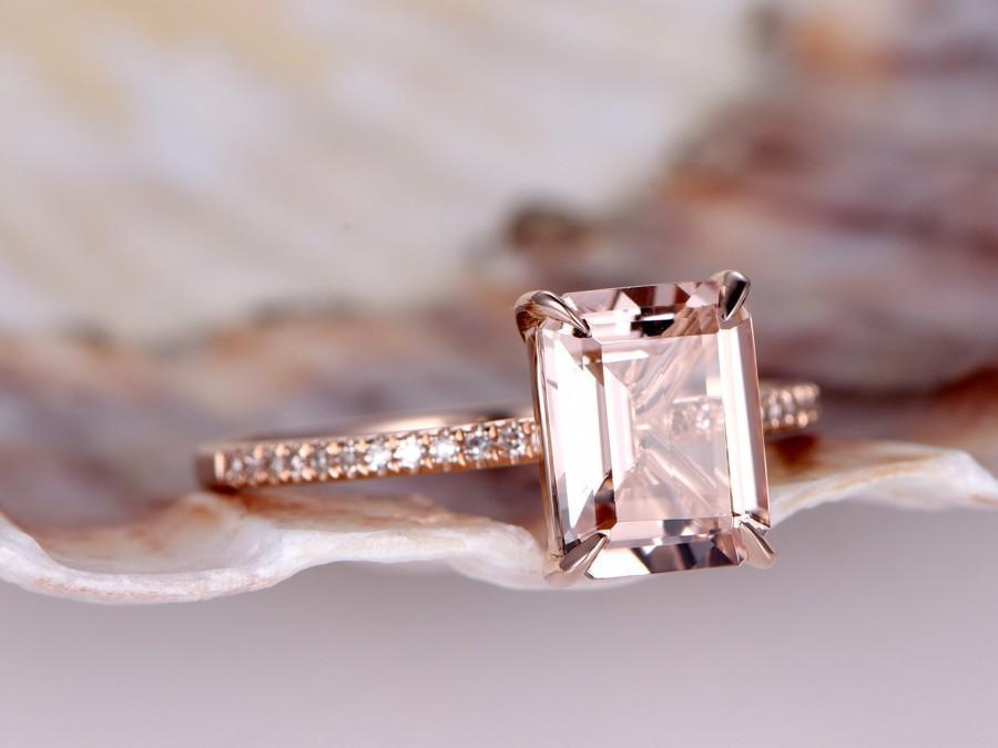 Mariage - Emerald 8x6mm Morganite ring,diamond engagement ring,solid 14k Rose gold band,Pink gemstone,bridal,promise ring,stacking matching band