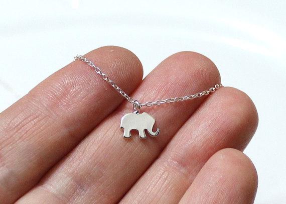 Silver Elephant Necklace. Animal necklace Silver Elephant Necklace Tiny elephant necklace