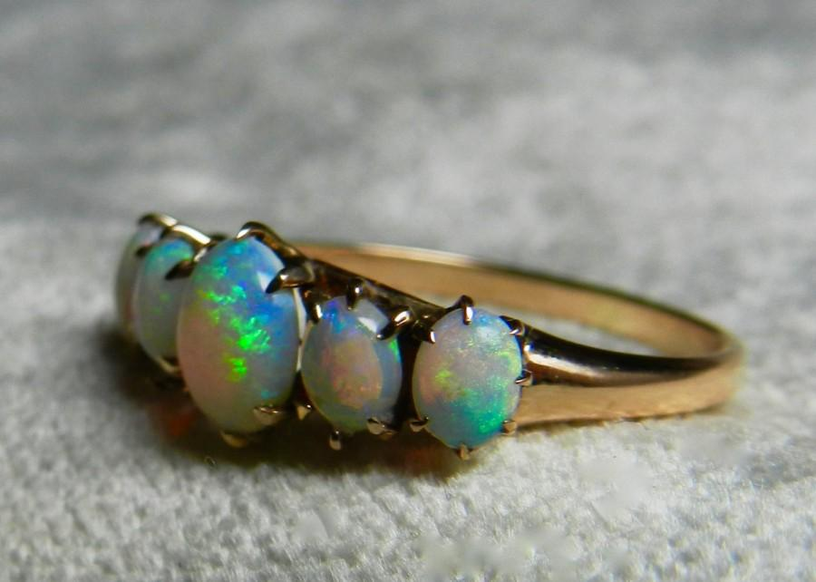 Attractive Opal Ring Gold 14K Opal Stacking Ring Antique Semi Black Opal Ring October  Birthstone Gift Libra Ring Opal Wedding Ring