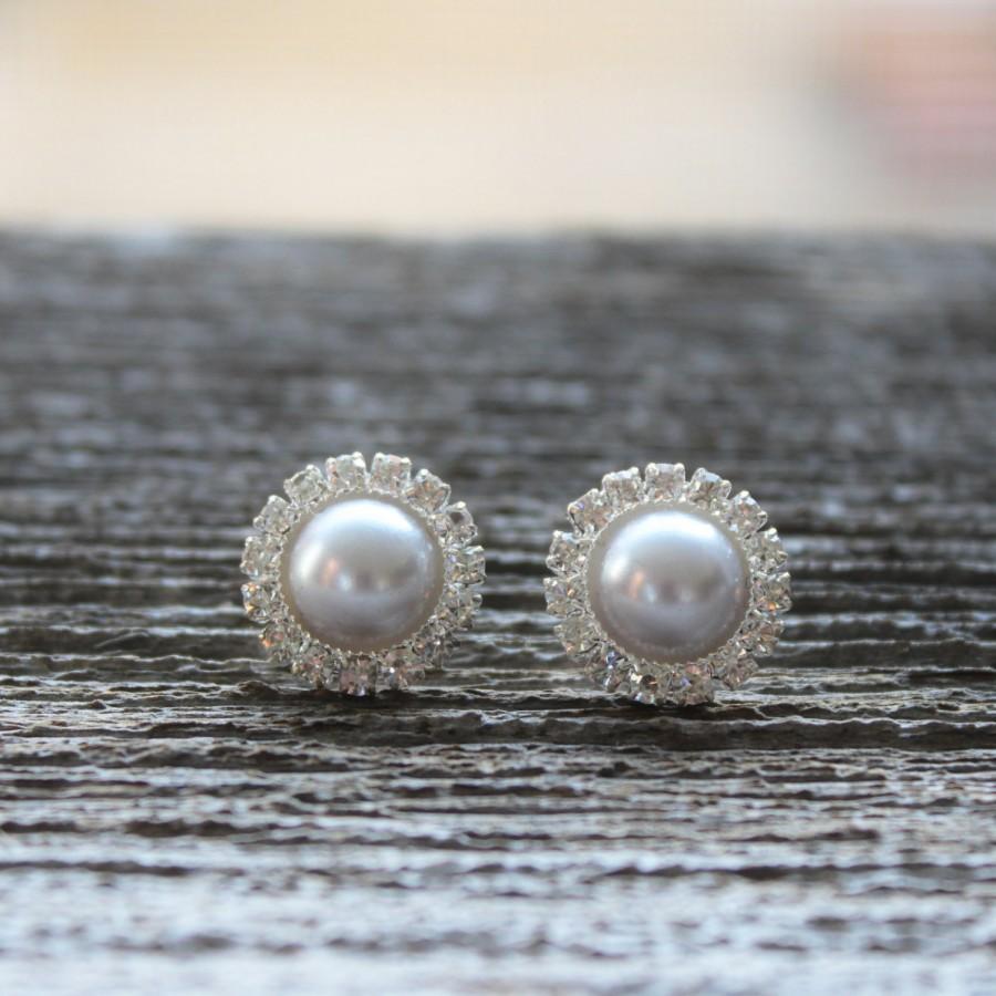 Mariage - Bridesmaid Earrings, Pearl Earrings, Rhinestone Earrings, Silver Pearl Wedding Jewelry, Silver Pearl Bridal Jewelry, Silver Bridesmaid
