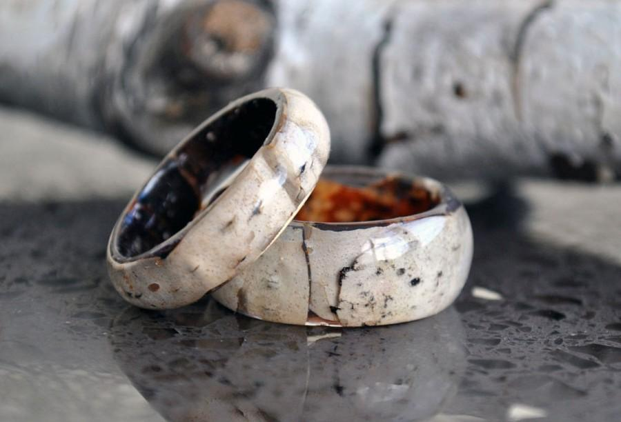 Mariage - Real birch bark ring, natural ring, birch wood rings, Natural Wooden ring, Unique Wedding Ring,  Wedding Ring,  Wooden Ring, Mens Jewelry
