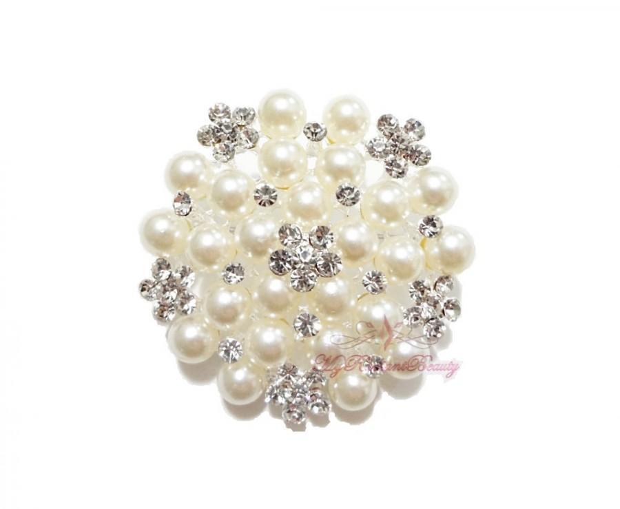 Mariage - 5x Bridal Brooch, Silver Plated Ivory Pearl Clear Rhinestone Crystal Flat Brooch , Wedding Brooch, Bridal Brooches  BR0020