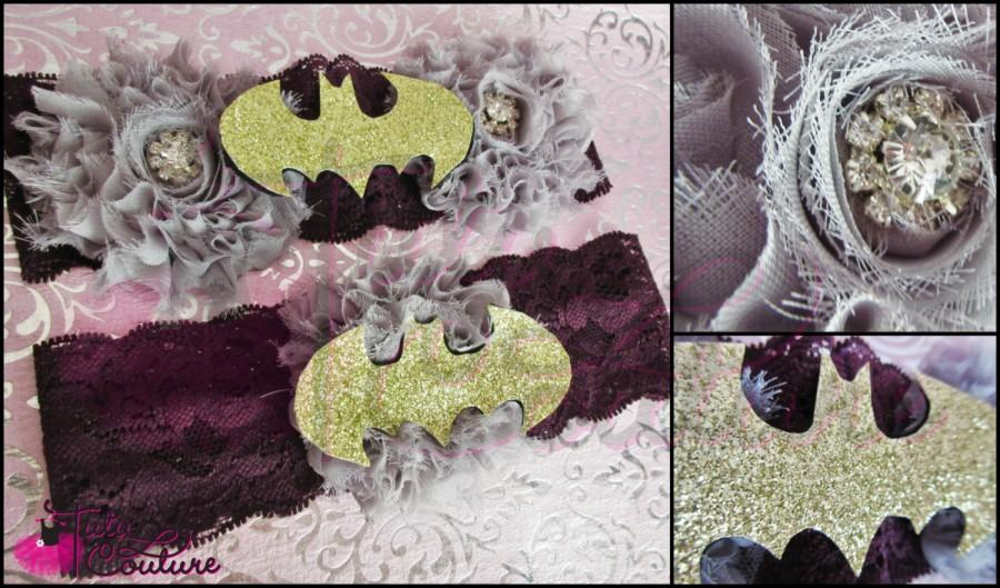 Mariage - Garters/Wedding Garters/Geek Garters/Batman Garters/Batman Lingerie/Wedding Lingerie/Geek Lingerie/Garter Toss/Tossing Garters/Bridal Garter