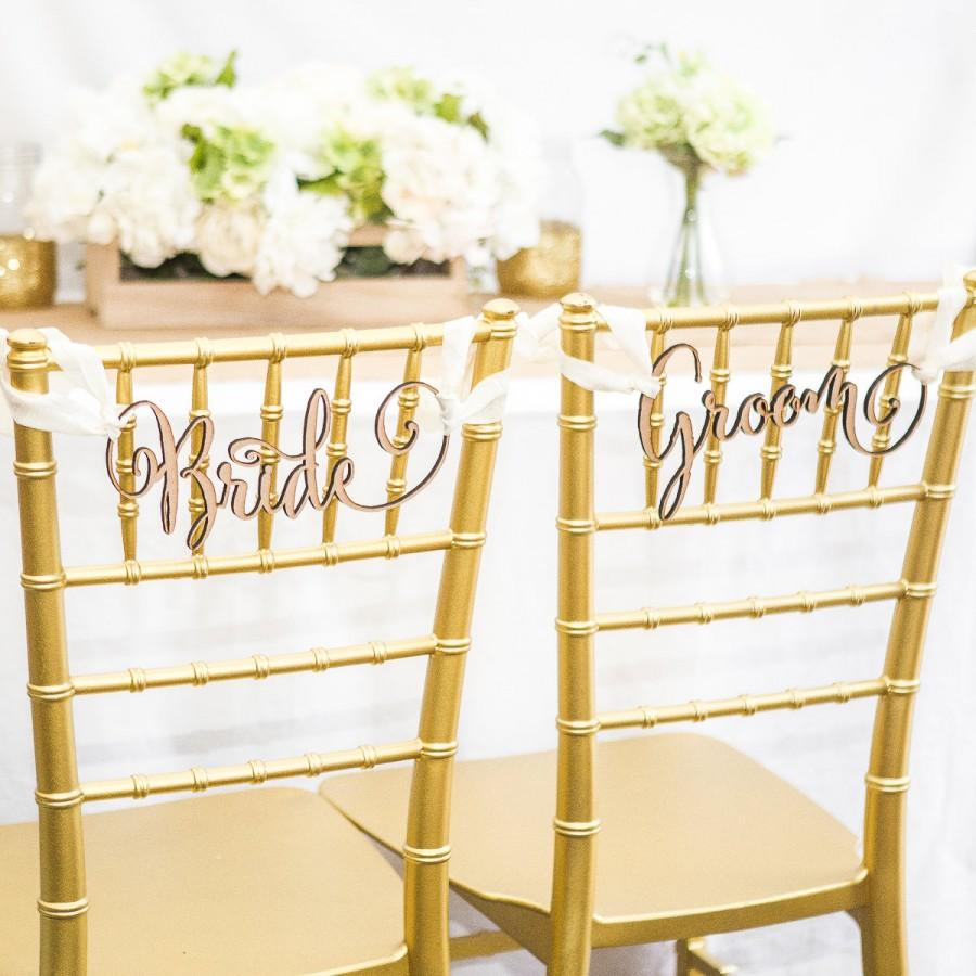 "Mariage - Chair Signs for Wedding - ""Bride/Groom"" Wedding Chair Sign for Reception, Chiavari Chair Decor (Item - CHG100)"