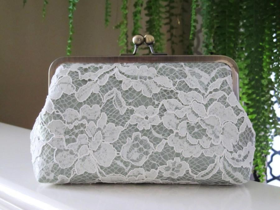 Wedding - Ivory Chantilly Lace Clutch,Floral Lace Clutch,Bridal Accessories,Wedding Clutch,Bridal Clutch,Bags And Purses