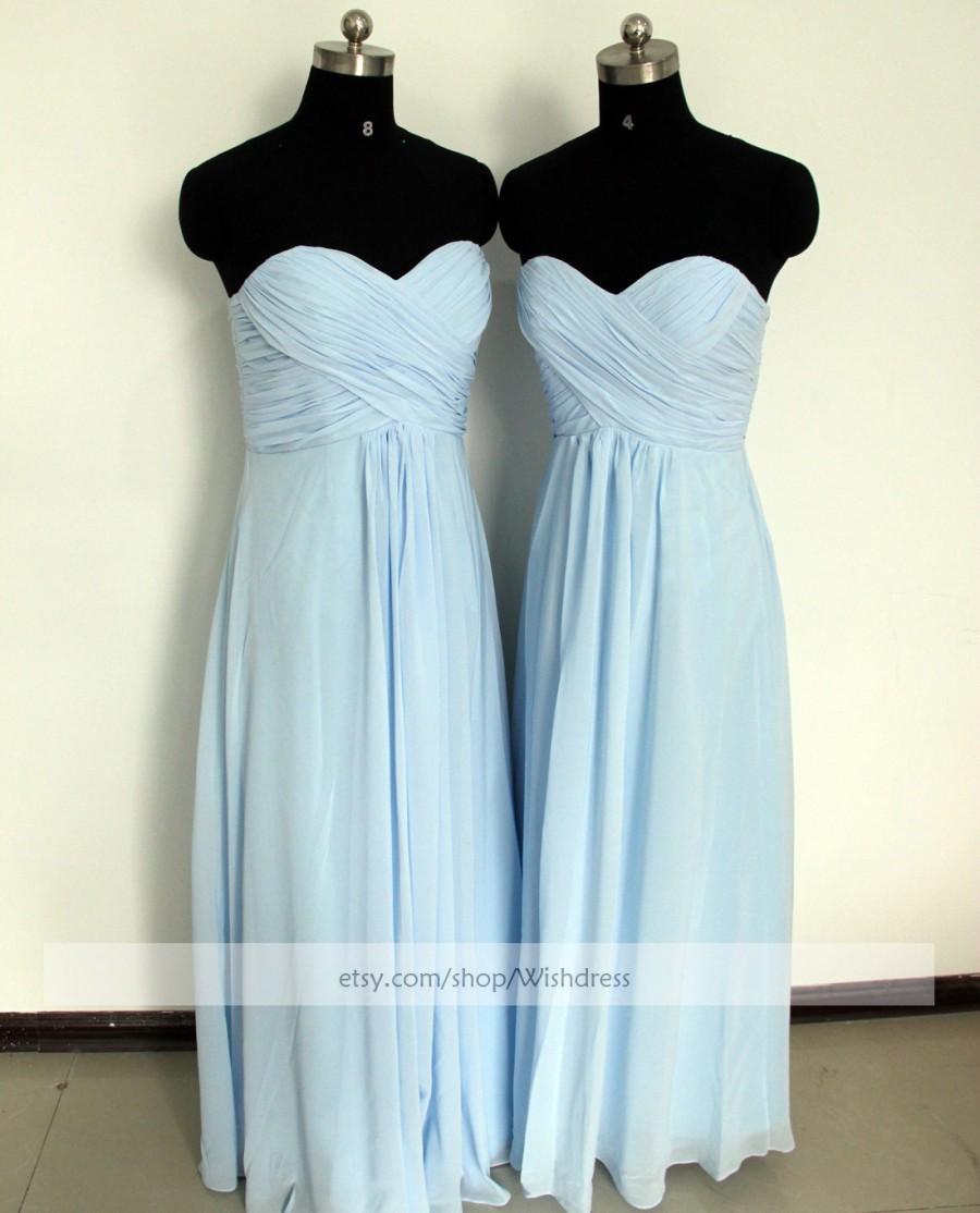 Wedding - Strapless Sweetheart Light Sky Blue Bridesmaid Dress/ Ruched Long Bridesmaid Dress/ Wedding Party Dress/ Floor Length Mismatch Dress