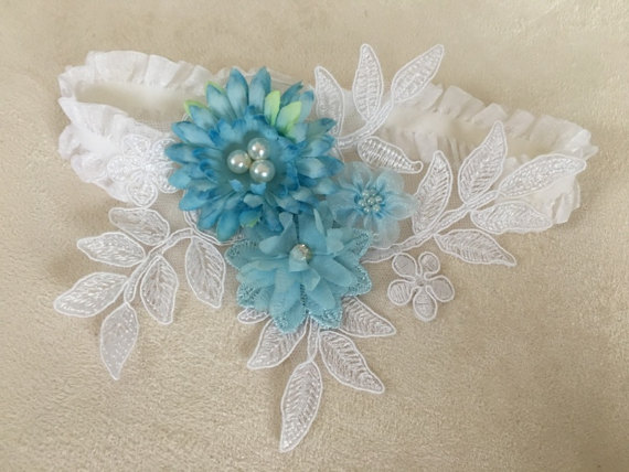 Wedding - Wedding Garter Blue white floral garter, Bridal Garter - Something Blue, Keepsake Garter- Toss Garter- Lace Garter- Garter- Wedding Garter