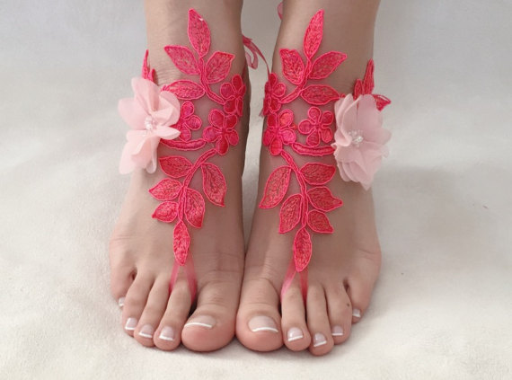 Hochzeit - Pink coral lace barefoot sandals, FREE SHIP, beach wedding barefoot sandals, belly dance, lace shoes, bridesmaid gift, beach shoes
