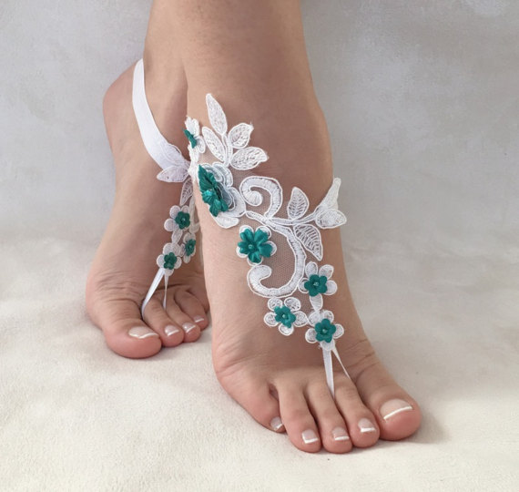 Wedding - white green flowers lace barefoot sandals, FREE SHIP, beach wedding barefoot sandals, belly dance, lace shoes, bridesmaid gift, beach shoes