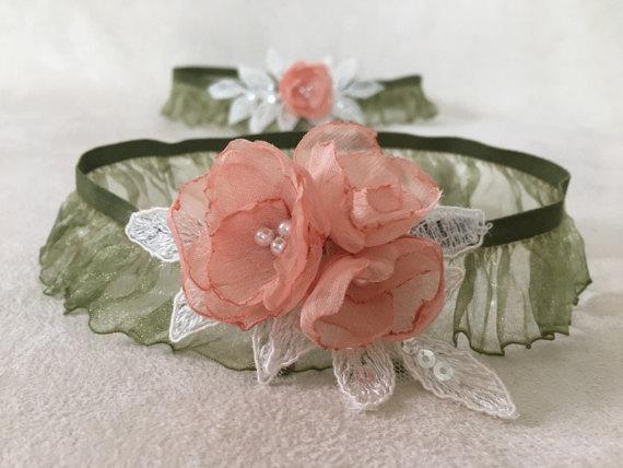 Wedding - Bridal Garter Set- ivory silk salmon flowers green Bridal Garter Set - Keepsake Garter- Toss Garter- Lace Garter- Garter- Wedding Garter-
