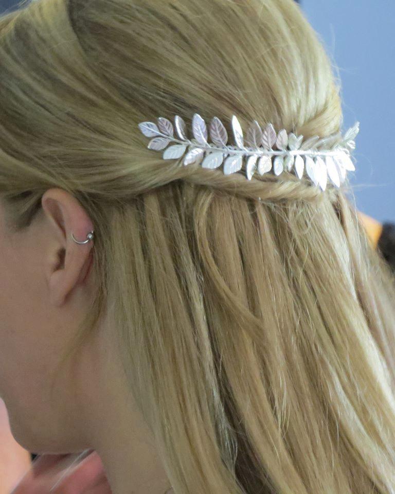 زفاف - Large Silver Leaf Hair Comb,Silver Hair Comb,Leaf Hair Comb,Wedding Hair Comb,Bridal Hair Comb,Grecian Hair,Laurel Hair Comb, Grecian Hair