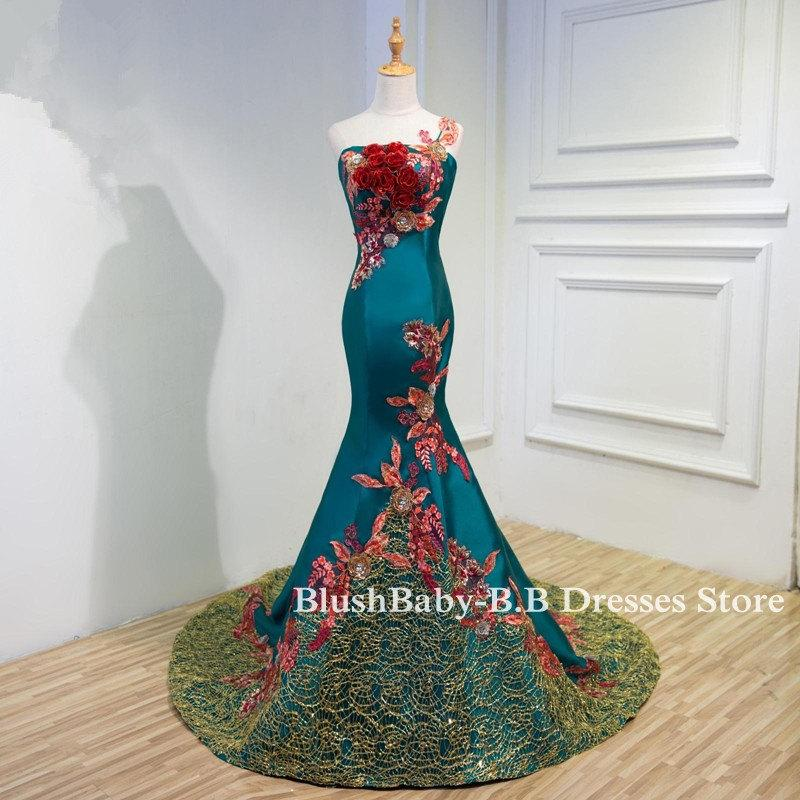 Wedding - Green Mermaid Evening Dresses One Strap Embroidery Crystal Flower Evening Party Dress Women Evening Prom Party Dress With Train 2017 Mermaid