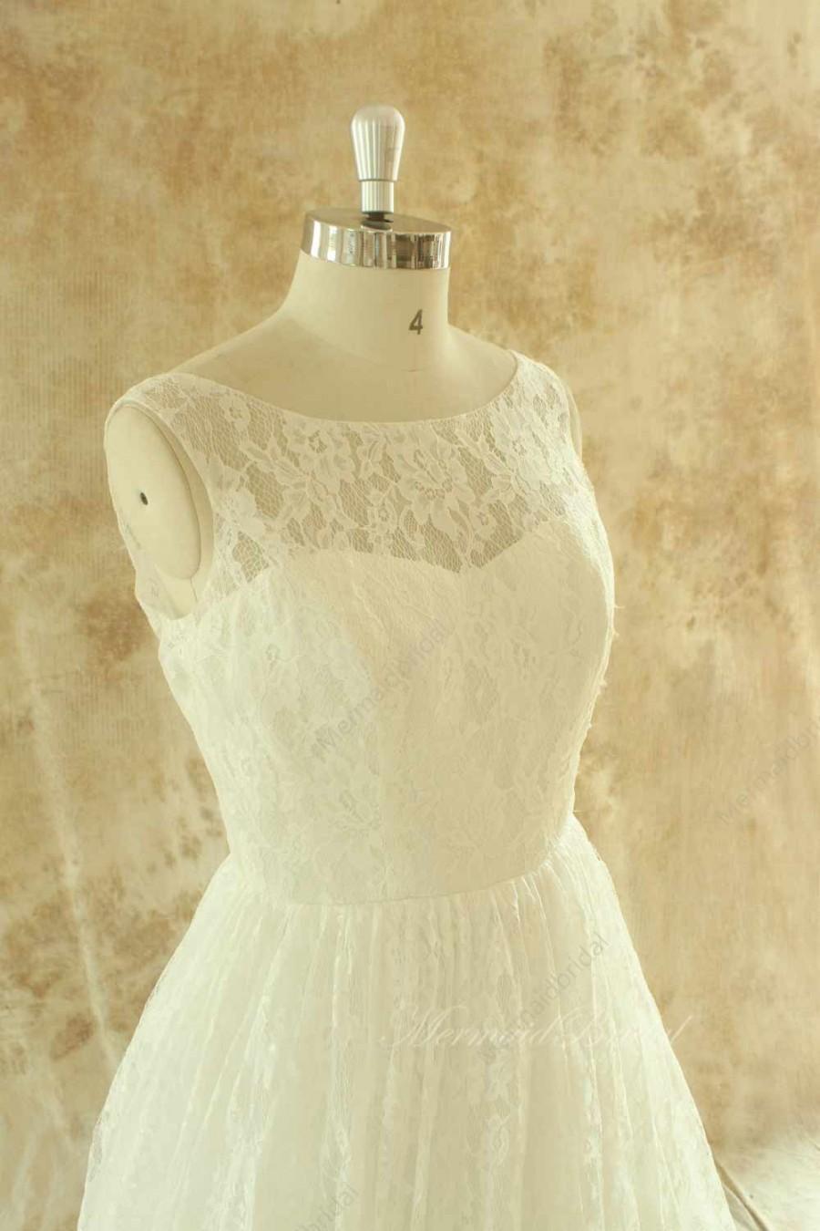 Wedding - Ivory A line lace wedding dress with illusion neckline