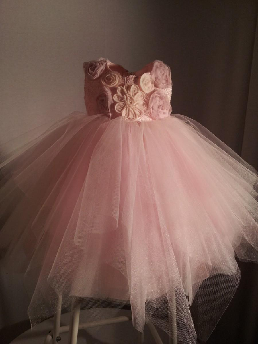 Wedding - Flowergirl Dress in Multi Layer Tuille with  uneven Hem.  Fluffy and Airy with Full skirts.