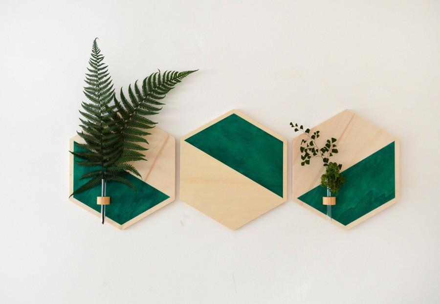 Wedding - Hanging Planter,wall planter wood,hanging planter,wood hexagon,hexagon,