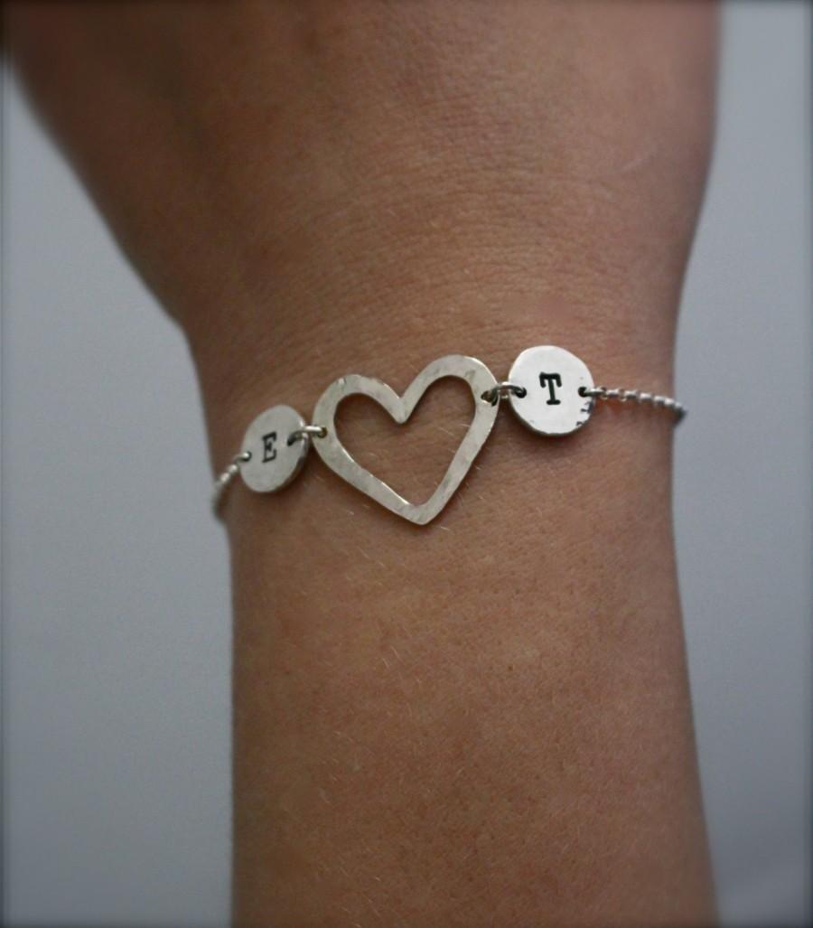 Wedding - Two initial, sterling silver bracelet. Heart, love bracelet.Custom jewellery.