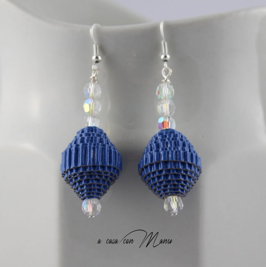 Mariage - Orecchini pendenti con perle di carta, earrings with paper beads, blu cobalto, gioielli creativi, idea regalo, handmade, made in Italy